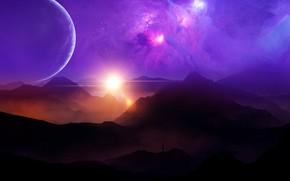 Картинка space, sky, landscape, sunset, nebula, mountains, clouds, stars, man, planets, purple, sunrays, univerce
