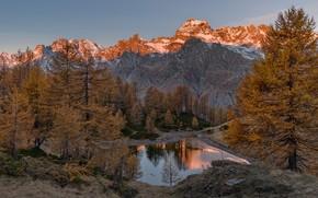 Картинка осень, вода, деревья, пейзаж, горы, природа, утро