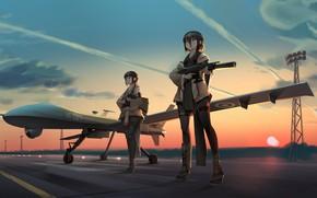 Картинка оружие, девушки, самолёт