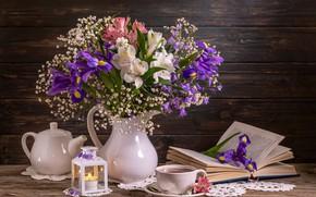 Картинка цветы, стиль, книга, ваза