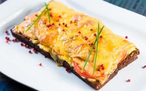 Картинка еда, сыр, тарелка, хлеб, бутерброд, помидоры