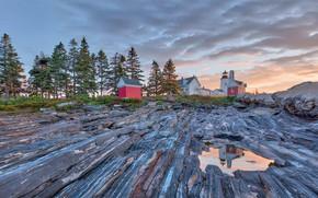 Картинка маяк, США, Мэн, Pemaquid Point Lighthouse