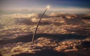 Картинка небо, вверх, ракета, полёт, над землёй