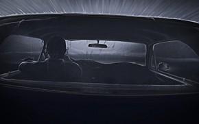 Картинка Mustang, Ford, Авто, Рисунок, Машина, Салон, Водитель, Art, Night, Illustration, Concept Art, Черно - белое, …
