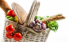 Картинка корзина, хлеб, овощи, помидоры