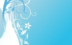 Картинка цветы, текстура, Light, blue, background, голубой фон, pattern, floral