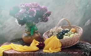 Картинка цветы, букет, виноград, натюрморт, корзинка, предметы, композиция, георгины