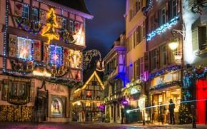 Картинка ночь, огни, Франция, Рождество, Кольмар