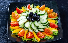 Картинка тарелка, овощи, помидоры, оливки