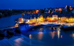 Картинка огни, река, улица, Франция, дома, вечер, деревня, France, коммуна, Оре, Auray