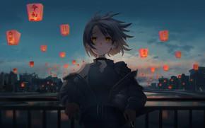 Картинка девушка, ночь, фонарики