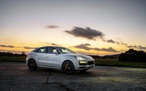 Картинка авто, небо, закат, фары, Porsche, Turbo, Cayenne