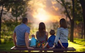 Картинка закат, дети, женщина, семья, мужчина