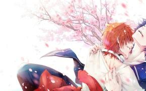 Картинка страсть, объятия, военная форма, рыжый, лепестки сакуры, два парня, Проект Кей, K Project, Yata Misaki, …