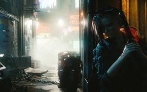 Картинка Девушка, Город, Игра, Неон, Улица, CD Projekt RED, Cyberpunk 2077, Киберпанк, Cyberpunk, Киберпанк 2077, 2077, ...