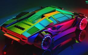 Обои Авто, Lamborghini, Неон, Машина, Car, Art, Вид сверху, Neon, Countach, Рендеринг, Concept Art, Lamborghini Countach, ...