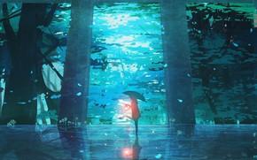 Картинка лес, девушка, зонт, фонарь