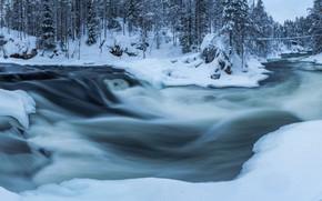 Картинка зима, снег, река, поток
