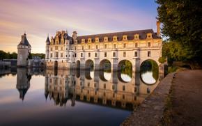 Картинка отражение, река, замок, Франция, France, Château de Chenonceau, Замок Шенонсо, Долина Луары, Loire Valley, Река …