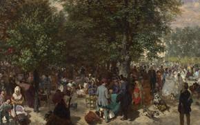Картинка картина, Adolph Menzel, Адольф фон Менцель, Днём в садах Тюильри