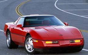 Картинка Corvette, Chevrolet, Red, ZR1, Coupe, C4