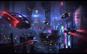 Картинка Ночь, Город, Будущее, Неон, Небоскребы, Машины, City, Car, Фантастика, Neon, Cyberpunk, Dominique van Velsen, by …
