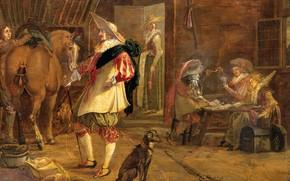 Картинка масло, интерьер, картина, Постоялый Двор, 1640, F. Jansen