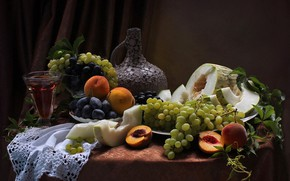 Картинка виноград, натюрморт, персики, ассортти