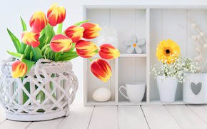 Картинка цветы, букет, тюльпаны, корзинка, декор, Anya Ivanova