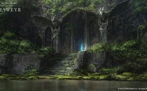 Картинка озеро, замок, дракон, The Elder Scrolls Online