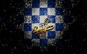 Картинка wallpaper, sport, logo, baseball, glitter, checkered, MLB, Los Angeles Dodgers