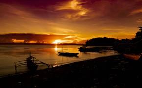 Картинка море, закат, лодки, силуэты