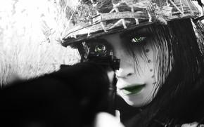 Картинка девушка, лицо, рендеринг, солдат, ружье, каска
