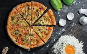 Картинка грибы, яйцо, яйца, сыр, перец, пицца, выпечка, pizza, мука, тесто, мясо курица