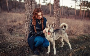 Картинка осень, девушка, деревья, природа, собака, куртка, Анастасия, Sergey Shatskov