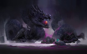 Картинка Рисунок, Дракон, Art, Фантастика, Concept Art, by YU YIMING, YU YIMING
