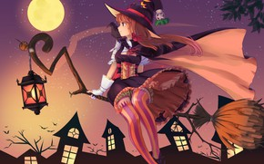 Обои ночь, фонарь, метла, летучие мыши, ворон, полнолуние, art, witch, полосатые чулки, шляпа ведьмы, ведьмочка, рыжая ...
