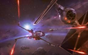 Картинка Космос, Истребитель, Star Wars, Бой, Истребители, Concept Art, Атака, X-Wing, Science Fiction, X-wing, TIE Fighter, …