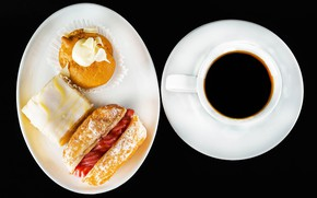 Картинка кофе, чашка, бутерброд, выпечка, сладкое