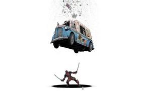 Картинка Машина, Костюм, Комикс, Car, Мечи, Deadpool, Marvel, Дэдпул, Marvel Comics, Comics, Фургон, Wade Wilson, Мороженое, …