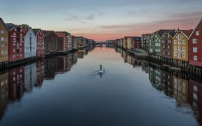 Картинка город, река, лодка