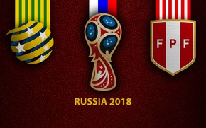 Картинка wallpaper, sport, logo, football, FIFA World Cup, Russia 2018, Australia vs Peru