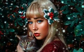 Картинка кошка, взгляд, девушка, макияж, Geo Leon