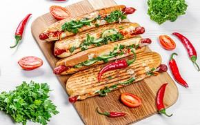 Картинка зелень, сосиски, сыр, доска, перец, овощи, помидоры, хот-дог