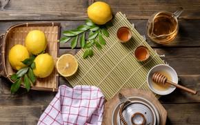 Картинка лимон, чай, мед, напиток