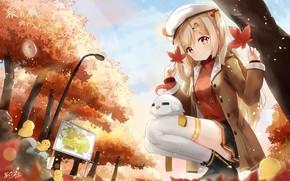 Картинка осень, листья, парк, девочка, птичка
