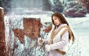 Картинка зима, снег, девочка