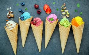 Картинка ягоды, мороженое, орехи, sweet, dessert, фисташки, ice cream, вафельный рожок