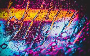 Картинка стекло, вода, капли, дождь, неон