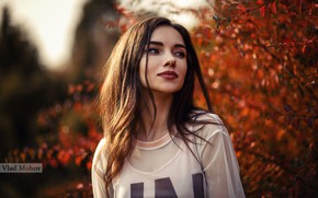 Картинка солнце, деревья, модель, портрет, макияж, прическа, шатенка, красотка, Anna, боке, Vlad Mohov